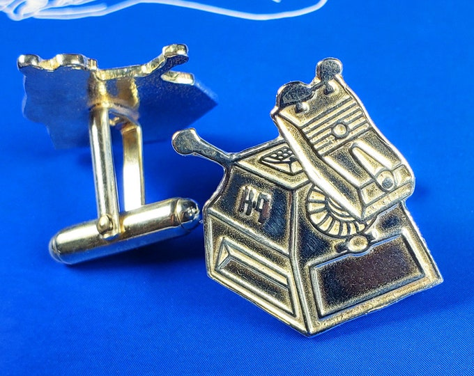 Featured listing image: Doctor Who K9 Inspired Cufflinks | Limited Edition Geeky Gifts, Geek Gear, Nerdy Gift, Nerd Wedding Jewelry, Groom & Groomsman Party