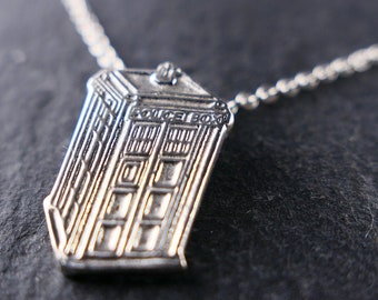 British Police Box Sterling Silver Necklace | TARDIS | Doctor Who Jewelry