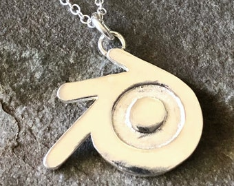 Blender 3D Sterling Silver Giant Necklace