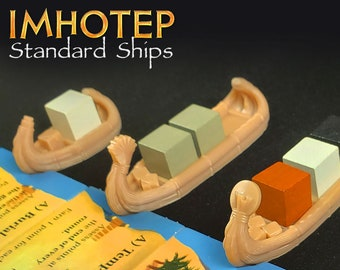 Imhotep Ships Collection Mini Reed Ships, Sleds & Private Ship Expansion Builder of Egypt Standard Edition   Egyptian Boardgame Pieces