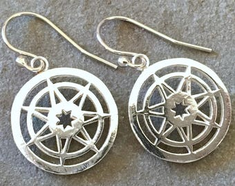 Seven Pointed Star Game of Thrones Sterling Silver Large Dangle Earrings