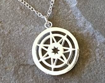 Seven Pointed Star Game of Thrones Medium Sterling Silver Necklace