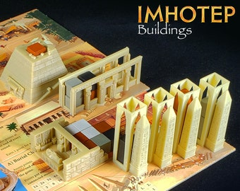 Imhotep Builder of Egypt Buildings: Pyramid, Temple, Burial Chamber | Board Game Accessories, Boardgame Pieces, Custom Meeples, KOSMOS Games