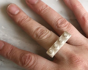 LEGO 4x1 Bar Sterling Silver Brick Ring