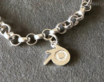Blender 3D Sterling Silver Charm Bracelet