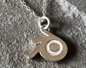 Blender 3D Sterling Silver Large Necklace