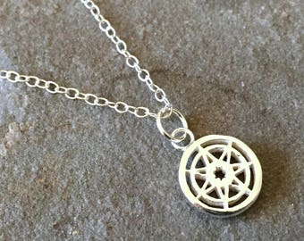 Seven Pointed Star Game of Thrones Small Sterling Silver Necklace