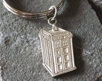 British Police Box Sterling Silver Keychain | Doctor Who Jewelry