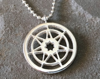 Seven Pointed Star Game of Thrones Sterling Silver Necklace w. Ball Chain