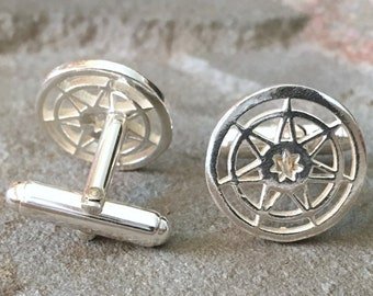Seven Pointed Star Game of Thrones Sterling Silver Cuff links