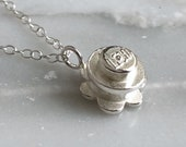 LEGO Daisy Sterling Silver Necklace, Block Necklace, Geometric Jewelry, Toy Necklace, Building Block Jewelry, Nerd Necklace