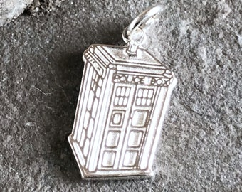 British Police Box Sterling Silver Charm