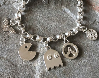 Ultimate Geek Sterling Silver Charm Bracelet Collection, Pacman, Overwatch, Game of Thrones, Wonder Woman