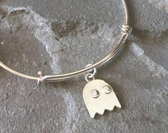 Pacman Gaming Ghost Sterling Silver Adjustable Bracelet