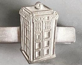 British Police Box Sterling Silver Tie Bar | TARDIS | Doctor Who Jewelry