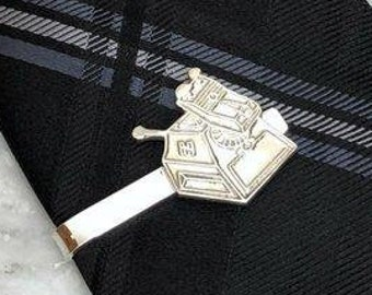 Doctor Who K9 Inspired Sterling Silver Tie Bar & Money Clip | TARDIS Jewelry, Science Fiction Wedding, Geeky Gear, Elegant Geek Chic