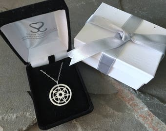 Seven Pointed Star Game of Thrones Large Sterling Silver Necklace