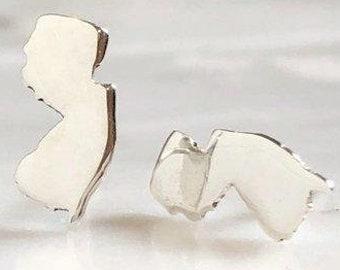 New Jersey Stud Earrings | NJ Jewelry Silver Earrings, State Jewelry, NJ Studs, New Jersey Posts, Garden State Earrings, ILoveNJ, MadeInNJ