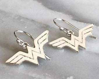 Wonder Woman Sterling Silver Dangle Earrings