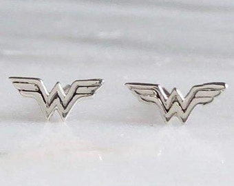Wonder Woman Sterling Silver Stud Earrings | Superhero Jewelry
