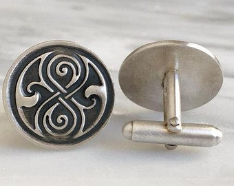 Seal of Rassilon Sterling Silver Cufflinks | Doctor Who Jewelry