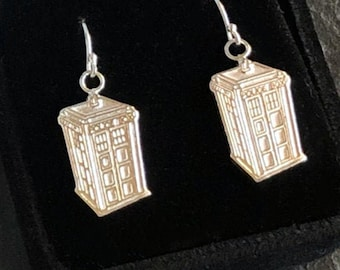 British Police Box TARDIS Dangle Earrings