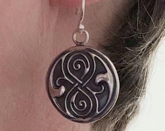Seal of Rassilon Sterling Silver Dangle Earrings
