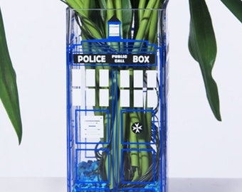 British Police Box Candle Holder & Vase, Romantic Nerd, Geeky Vase, Flower Vase, NIRDHOUSE, Geeky Gift, Nerdy House Gift, TARDIS, Doctor Who
