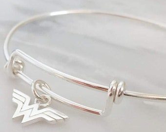 Wonder Woman Sterling Silver Bangle Bracelet | Superhero Jewelry