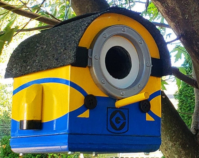 Featured listing image: Marvin the Mini Minion Birdhouse | The Minions Small Birdhouse