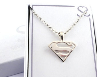 Supergirl (Superman) Sterling Silver Necklace and Stud Earring Gift Set