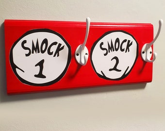 Smock 1 & Smock 2 Dr Suess Style Coat and Bag Hooks | Kids Bedroom Decor, Children Room Hook, Coatrack, Cartoon Fixtures, Home Hook Storage