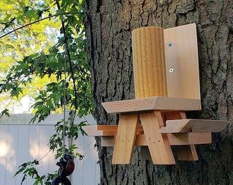Picnic Table  Squirrel Feeder Natural Cedar | Squirrels & Chipmunk Backyard Garden Feeders, Yard Decor, Geeky Gardener Gear, Animal Lover