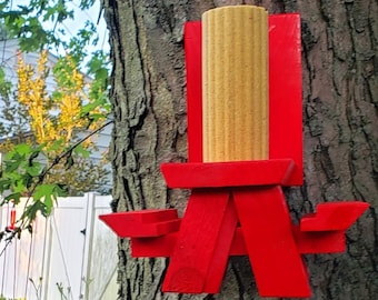 Bright Red Squirrel Picnic Table Feeder Natural Cedar | Squirrels & Chipmunk Backyard Garden Feeders, Yard Decor, Geeky Gardener Gear
