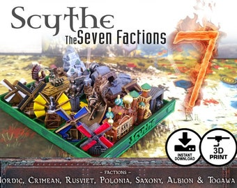 Scythe: The 7 Factions | Nordic, Crimean, Rusviet, Polonia, Saxony, Albion & Togawa Invaders from Afar - 28 piece Unique Faction Buildings