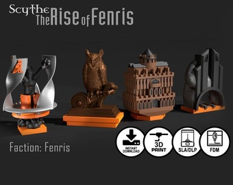 Scythe: Rise of Fenris | Vesna-Tesla and Fenris 8 piece Unique Faction Buildings, Custom Board Game Meeples, Tokens, Gaming Accessories