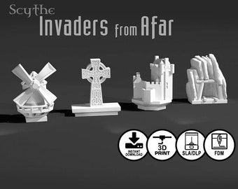 Scythe: Invaders from Afar | Clan Albion and Togawa Shogunate 8 piece Unique Faction Buildings, Custom Gaming Meeple, Tokens and Accessories