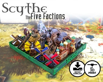 Scythe: The 5 Factions | Nordic, Crimean, Rusviet, Polonia & Saxony 20 piece Unique Faction Buildings, Custom Gaming Tokens and Accessories