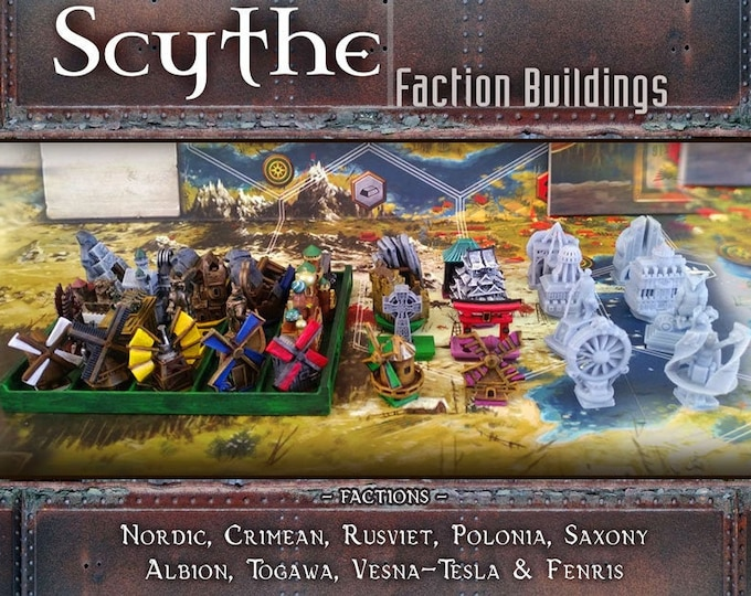 Featured listing image: Scythe Faction Buildings Custom Meeples: Nordic, Crimean, Rusviet, Polania, Saxony, Invaders from Afar, Rise of Fenris Expansion Game Pieces