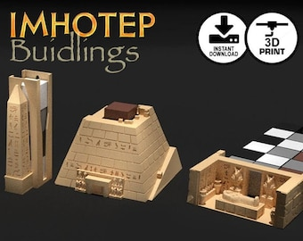 Imhotep Standard Edition Buildings 3d Printer Digital Download | Temple Obelisk Pyramid Burial Chamber, STL, Custom Board Game Piece, Gamer