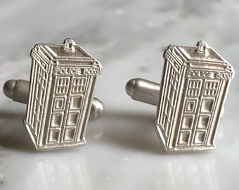 British Police Box | TARDIS Sterling Silver Cufflinks | Doctor Who Jewelry