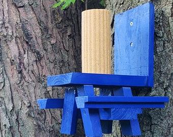 Royal Blue Squirrel Picnic Table Feeder Natural Cedar | Squirrels & Chipmunk Backyard Garden Feeders, Yard Decor, Geeky Gardener Gear