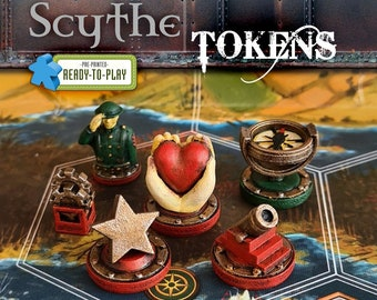 Scythe the Board Game Faction Tokens Ready To Play | Power,Encounter,Popularity,Star,Enlist,Upgrade,Nordic,Crimean,Rusviet,Polonia,Saxony