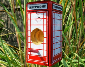 British Telephone Booth Bird Feeder Suet Log & Bark Butter | English Anglophile Lover, Geeky Gifts, Geeky Gardener, Nerd Garden, Nerdy Gift