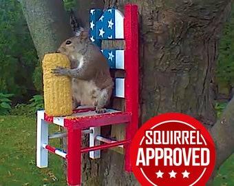 Stars and Stripes Squirrel Feeder Chair | Squirrels & Chipmunk Backyard Critters Garden Feeders, Yard Decor, American Flag Geek Gardens