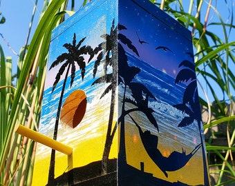 Beach Sunset Driftwood Birdhouse