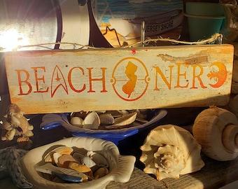 Beach Nerd New Jersey Decorative Sign