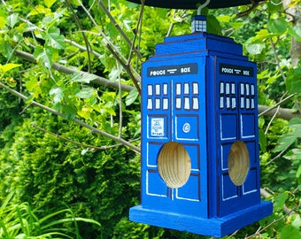 British Police Box Doctor Who TARDIS Suet Log & Bark Butter Bird Feeder