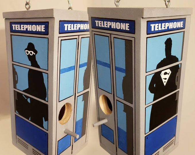 Featured listing image: Superman / Clark Kent Telephone Booth Birdhouse
