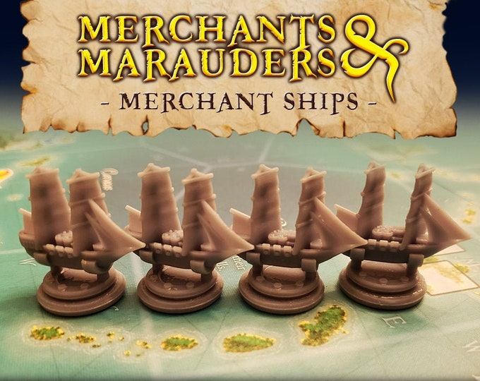 Featured listing image: Merchants & Marauders Upgraded Merchant Ship Board Game Tokens | Custom Meeple, Boardgame Pieces, Sailing Ships, Meeples, Pirates Privateers